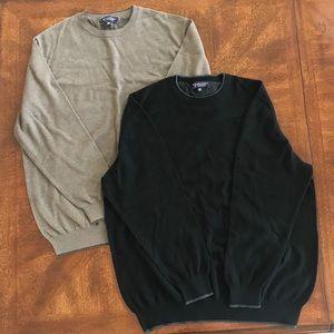 2 Roundtree & Yorke black sweater and tan sweater